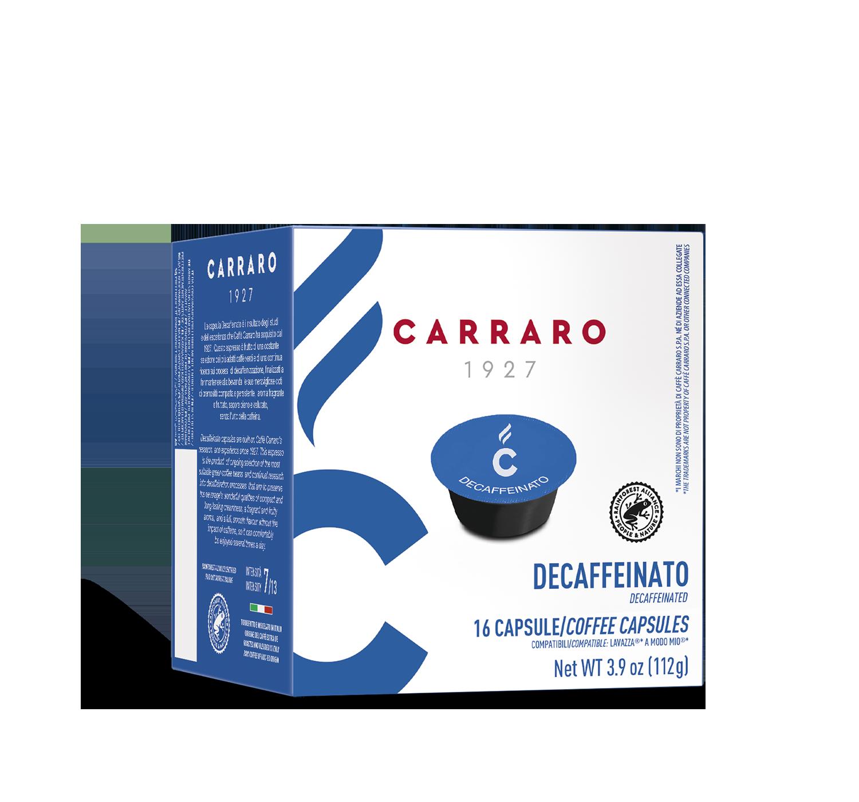 Capsule compatibili *A Modo Mio<sup>®</sup> - Decaffeinato – 16 capsule - Shop online Caffè Carraro