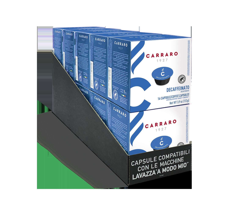 Capsules *A Modo Mio<sup>®</sup> compatible - Decaffeinato – 10 boxes of 16 capsules, 160 capsules total - Shop online Caffè Carraro