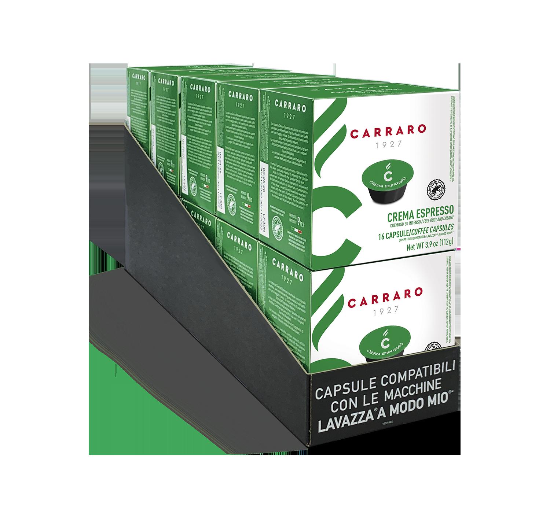 Capsule compatibili *A Modo Mio<sup>®</sup> - Crema Espresso – 10 astucci da 16 capsule, totale 160 capsule - Shop online Caffè Carraro