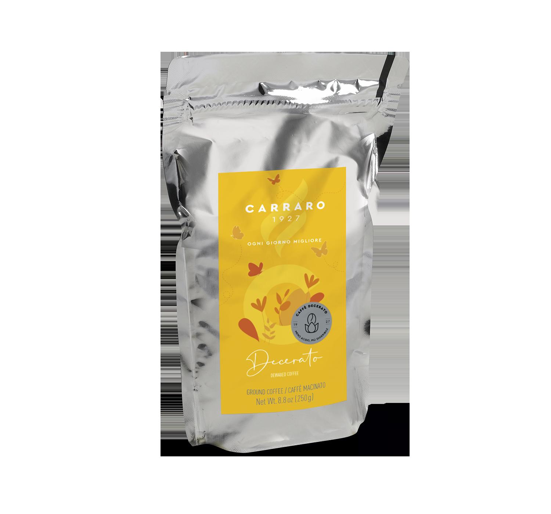 Caffè macinato per moka - Decerato – caffè macinato 250 g in standpack - Shop online Caffè Carraro