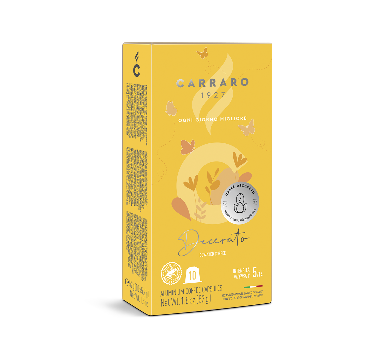 Capsule compatibili *Nespresso<sup>®</sup> - Decerato – 10 capsule - Shop online Caffè Carraro