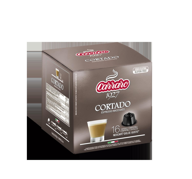 Capsule compatibili *Dolce Gusto<sup>®</sup> - Cortado – 16 capsule - Shop online Caffè Carraro