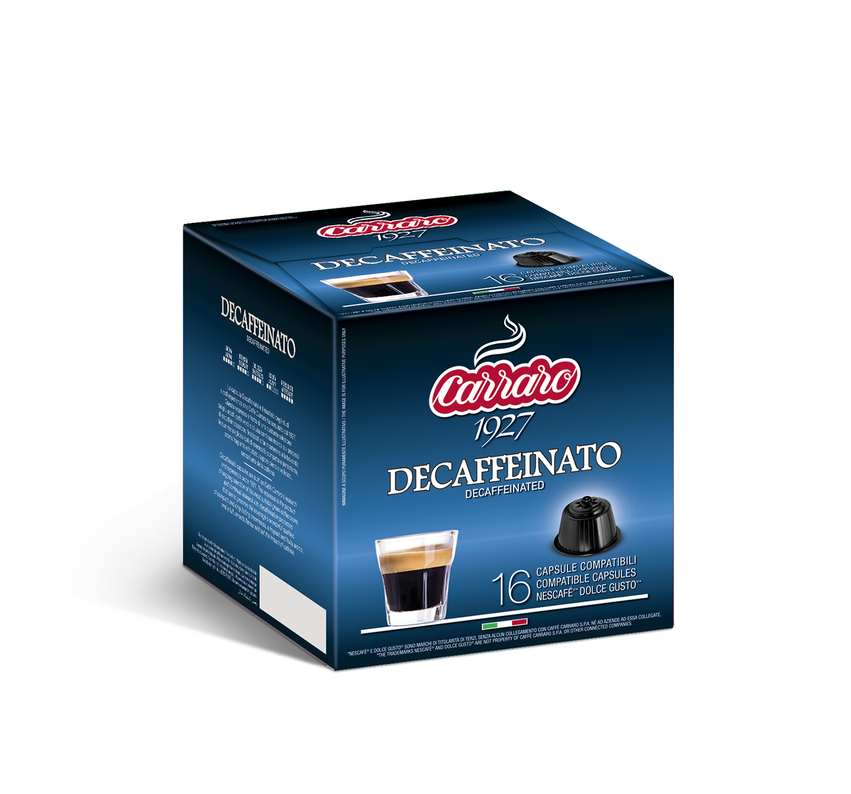 Capsules *Dolce Gusto<sup>®</sup> compatible - Decaffeinato – 16 capsules - Shop online Caffè Carraro