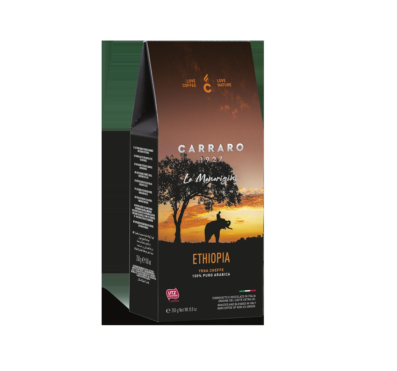 Caffè macinato per moka - Ethiopia – caffè macinato in  astuccio  da 250 g - Shop online Caffè Carraro