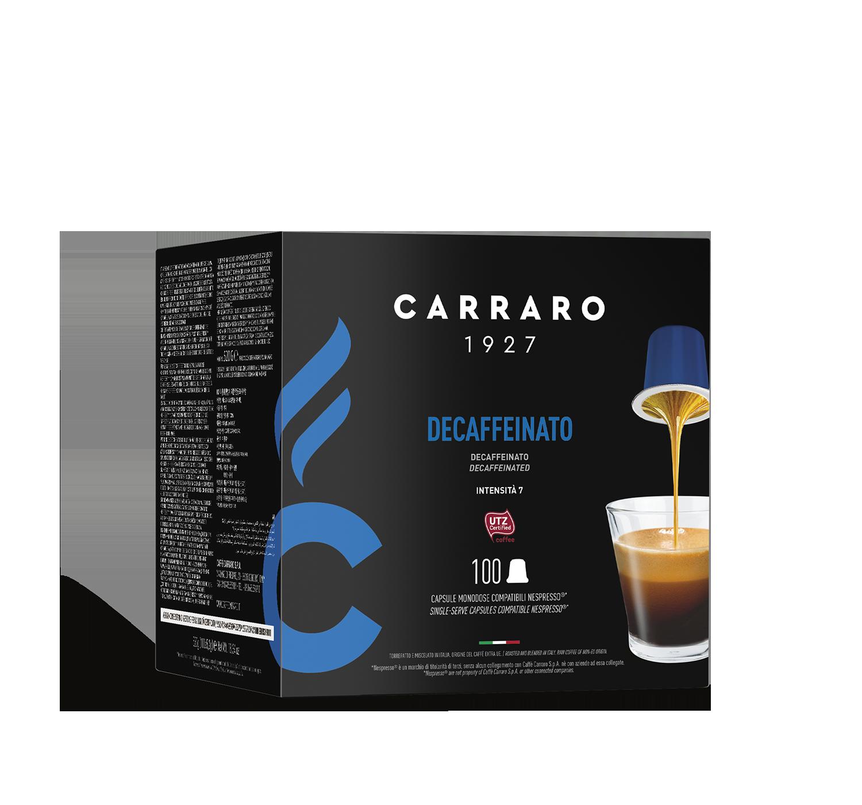 Capsule compatibili *Nespresso<sup>®</sup> - Decaffeinato – 100 capsule - Shop online Caffè Carraro