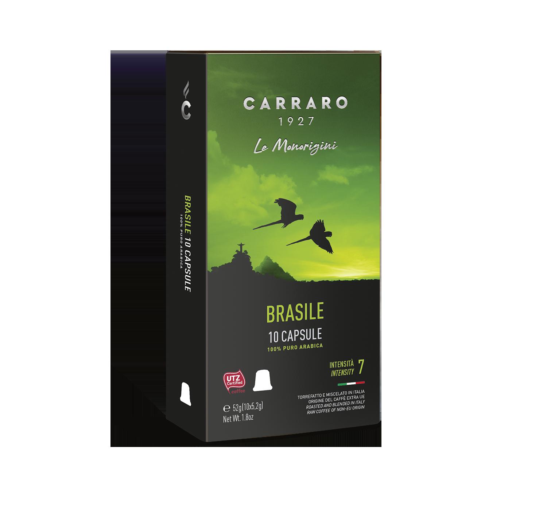 Capsules *Nespresso<sup>®</sup> compatible - Brasile – 10 capsules - Shop online Caffè Carraro