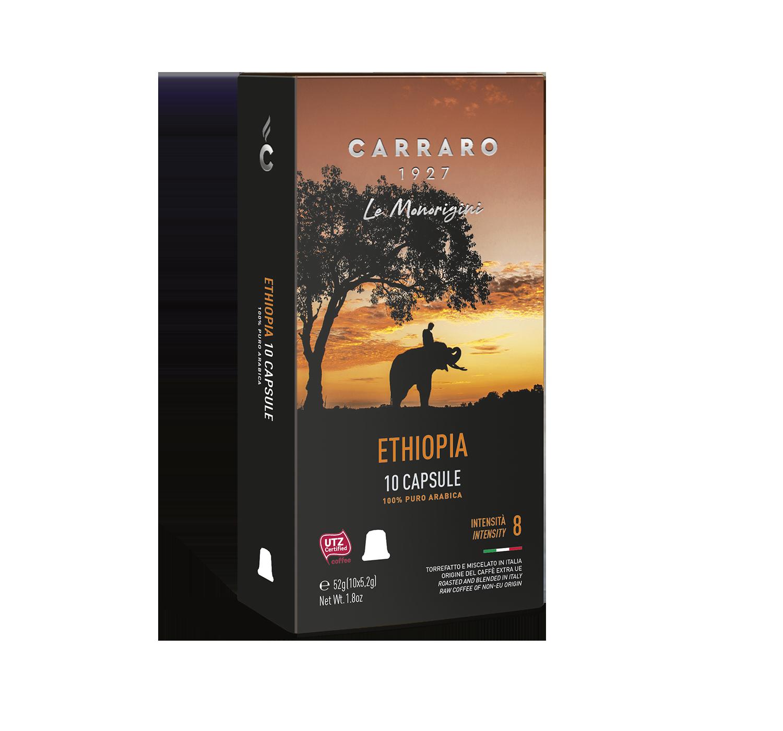 Capsules *Nespresso<sup>®</sup> compatible - Ethiopia – 10 capsules - Shop online Caffè Carraro