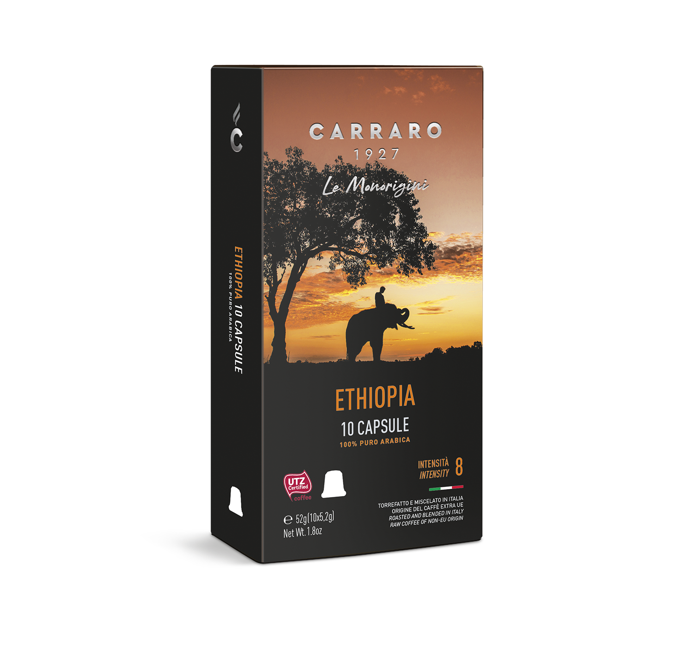 Capsule compatibili *Nespresso<sup>®</sup> - Ethiopia – 10 capsule - Shop online Caffè Carraro