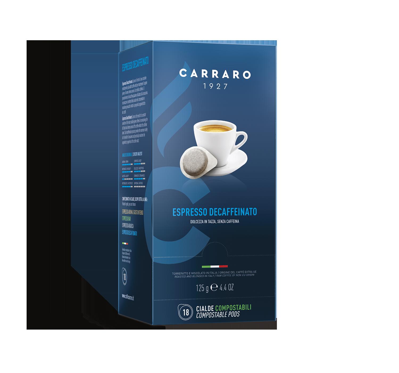 Cialde monodose ESE - Espresso Decaffeinato – 18 cialde da 7 g - Shop online Caffè Carraro