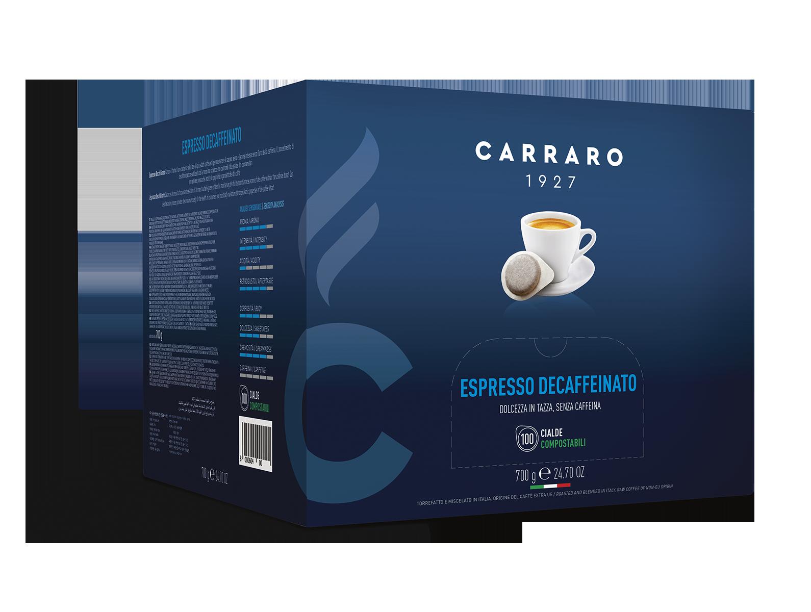 Espresso decaffeinato – 100 cialde da 7 g