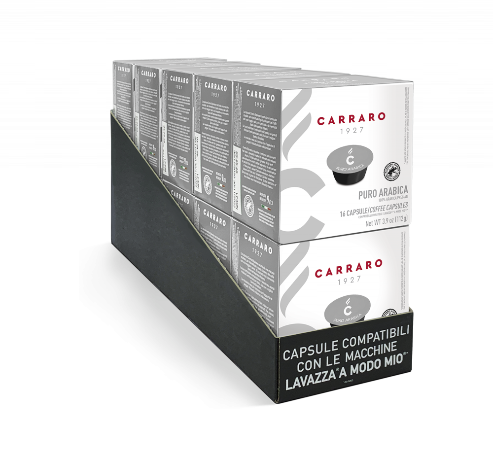 Puro Arabica – 10 astucci da 16 capsule, totale 160 capsule compatibili A Modo Mio®* - Caffè Carraro