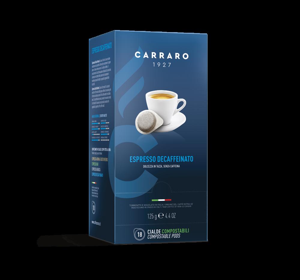 Espresso Decaffeinato – 18 pods of 7 g - Caffè Carraro
