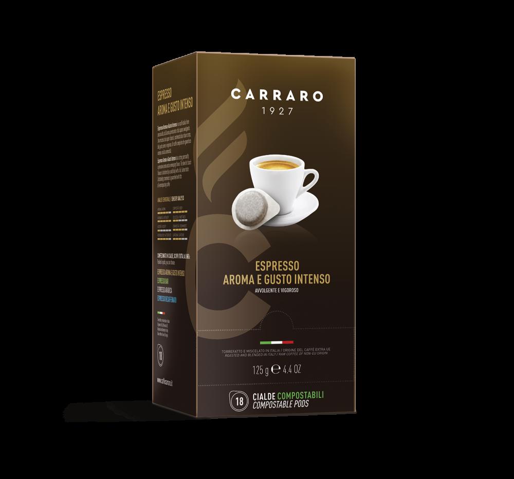 Espresso Aroma e Gusto Intenso – 18 pods of 7 g - Caffè Carraro