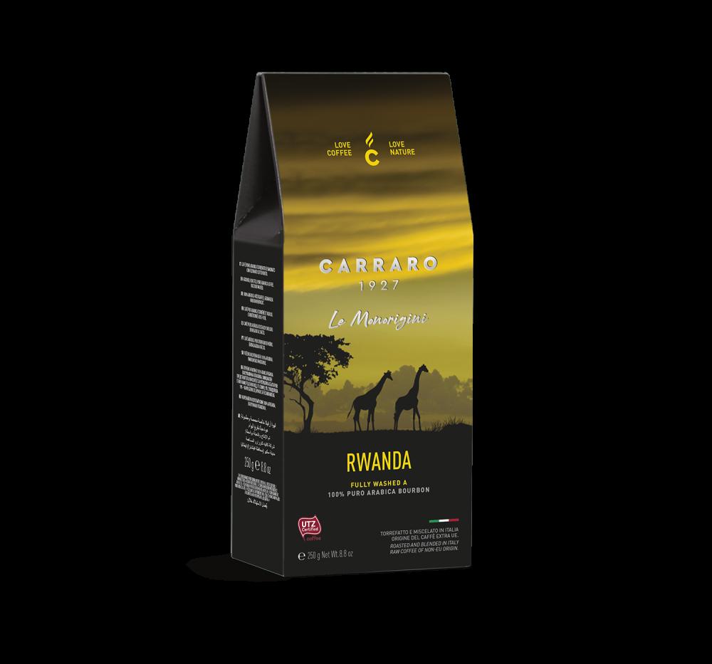 Rwanda – ground coffee carton pack 250 g - Caffè Carraro