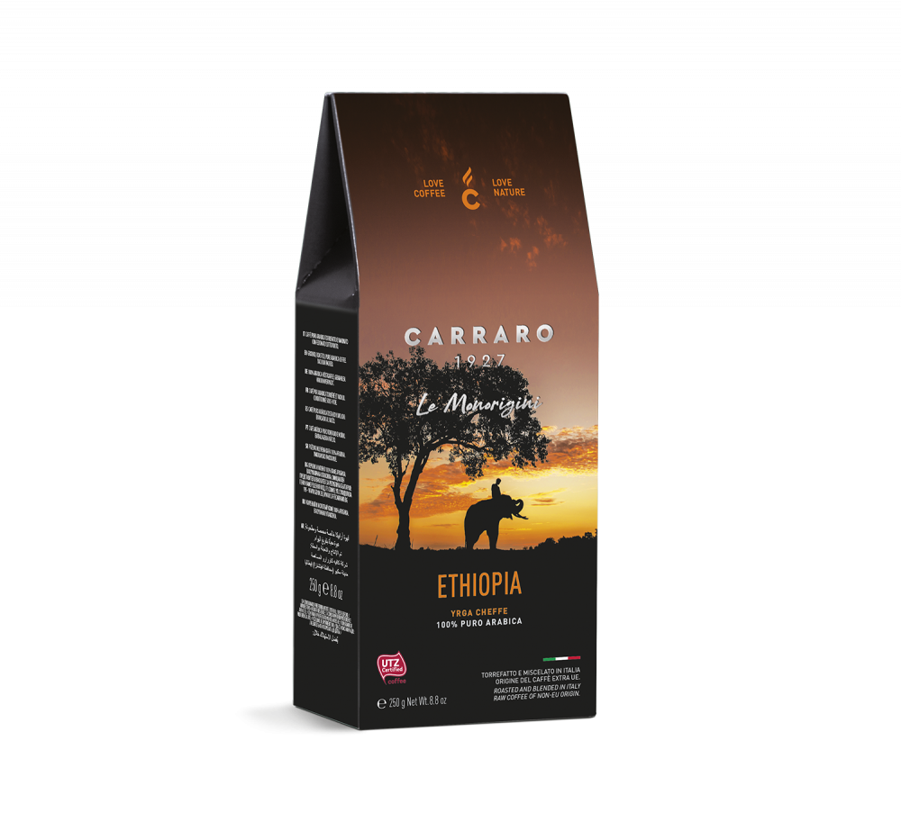 Ethiopia – ground coffee carton pack  250 g - Caffè Carraro
