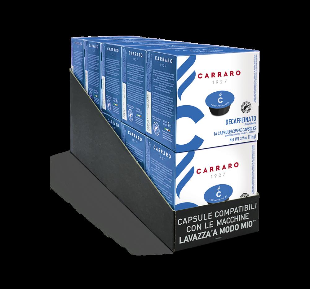 Decaffeinato – 10 boxes of 16 capsules, 160 capsules total - Caffè Carraro