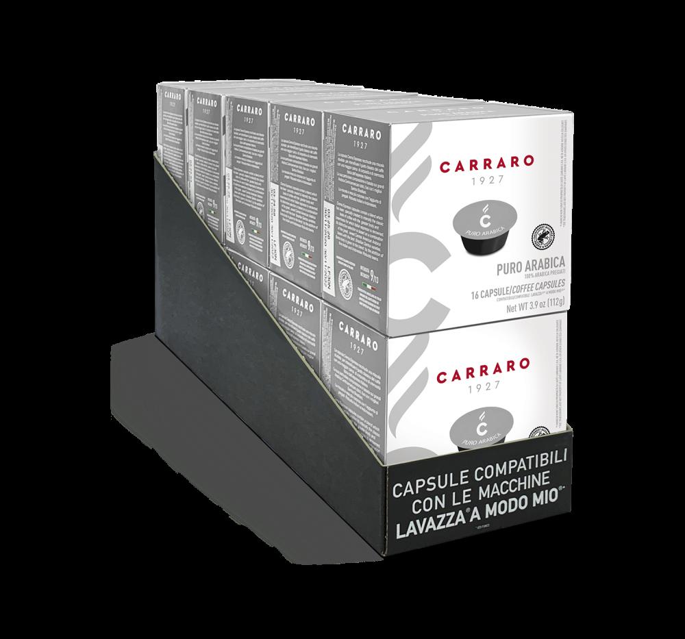 Puro Arabica – 10 astucci da 16 capsule, totale 160 capsule - Caffè Carraro
