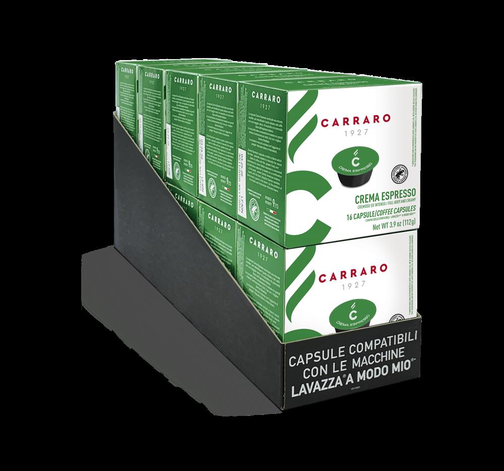 Crema Espresso – 10 boxes of 16 capsules, 160 capsules total - Caffè Carraro