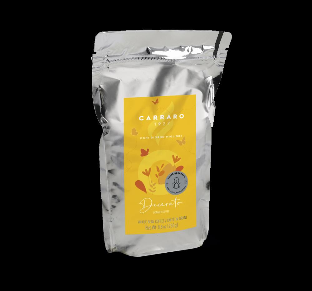 Decerato – coffee beans 250 g standpack - Caffè Carraro