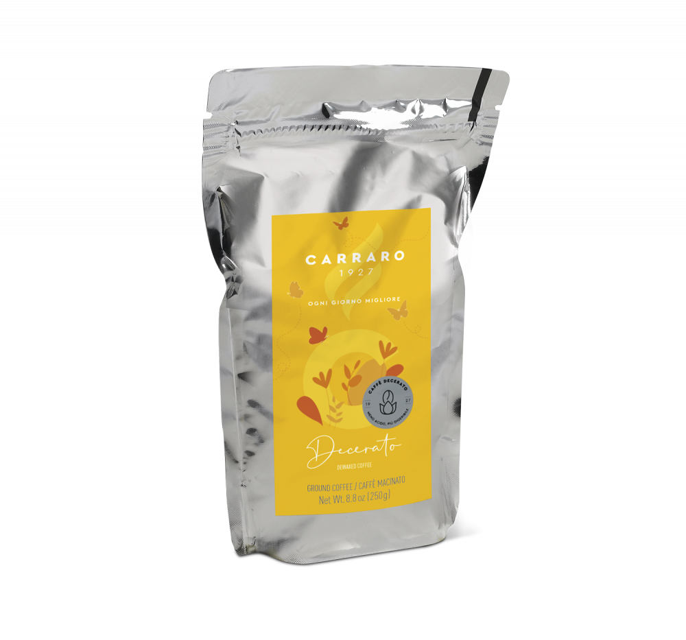 Decerato – caffè macinato 250 g in standpack - Caffè Carraro